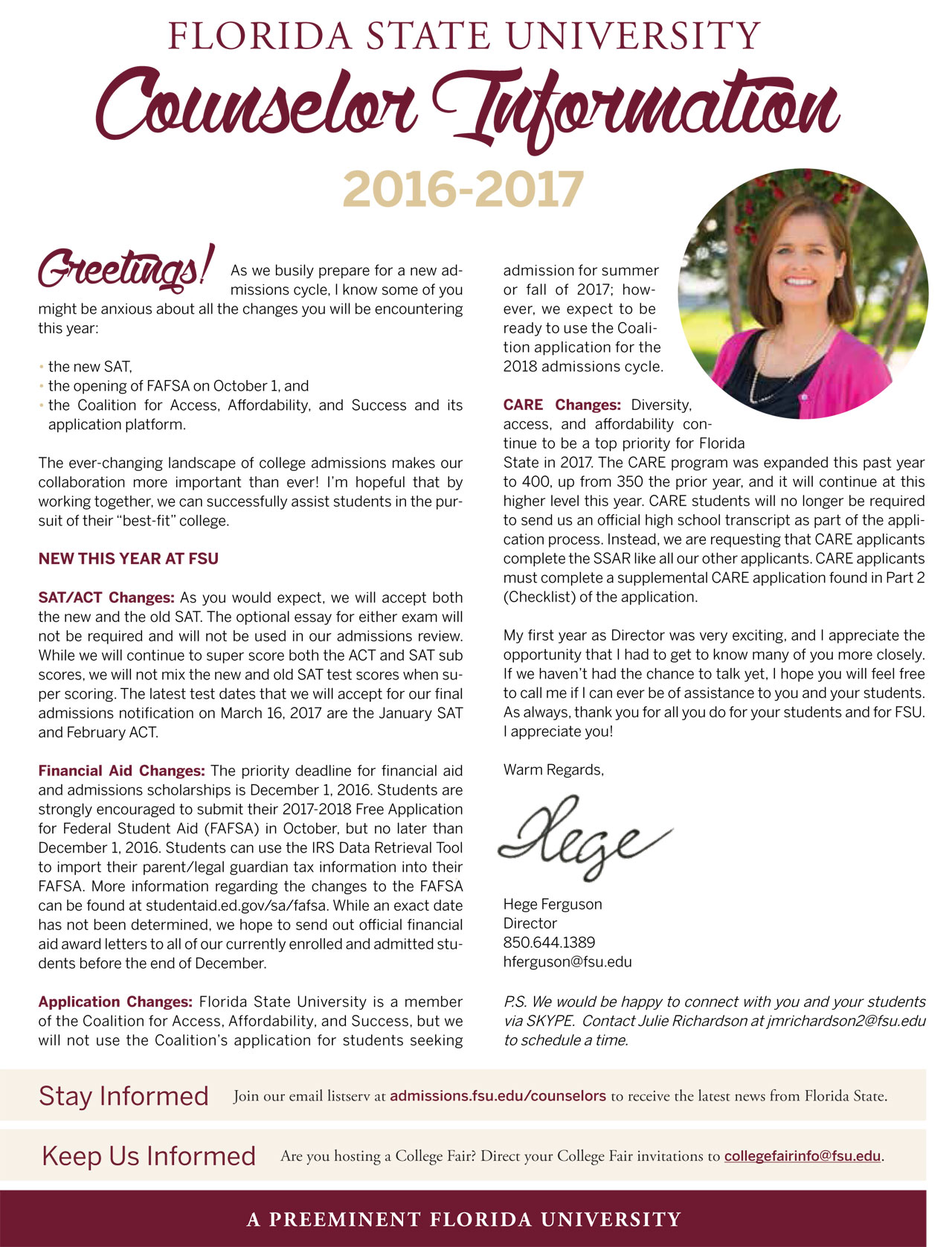 fsu admissions counselors brochure counselor brochure